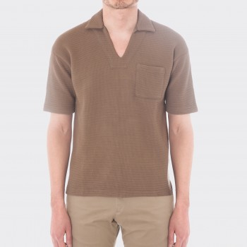 Polo Col Requin Coton : Marron