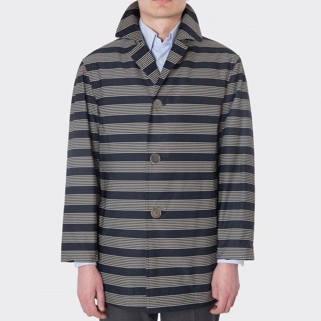 """MONOCLE S"" Twill Jersey Overcoat : Navy/Off White"