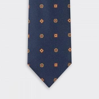 Cravate Soie Motif Floral & Médaillon : Marine/Rouge/Jaune