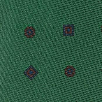 Cravate Soie Motif Floral & Médaillon : Vert/Bleu/Bordeaux
