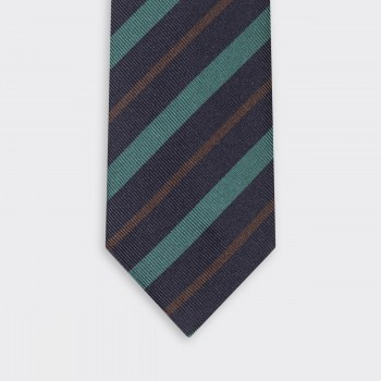 Double Stripe Regimental Tie : Navy/Green/Brown