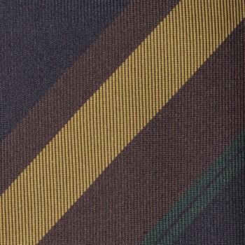 Cravate Club Soie : Marine/Jaune/Vert/Marron