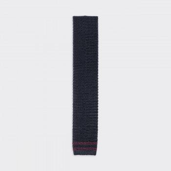 Cravate Tricotée « Ivy » en Soie : Marine/Bordeaux