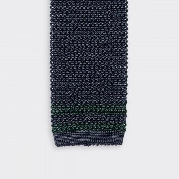 Cravate Tricotée « Ivy » en Soie : Marine/Vert