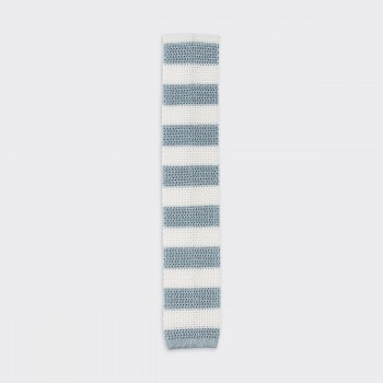 Stripe Knitted Tie : Grey Blue/White