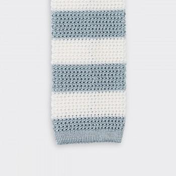 Cravate Tricotée à Rayures : Blanc/Gris Bleu