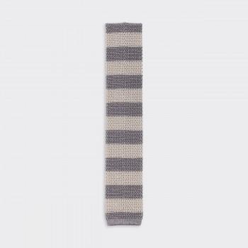 Cravate Tricotée à Rayures : Taupe/Beige