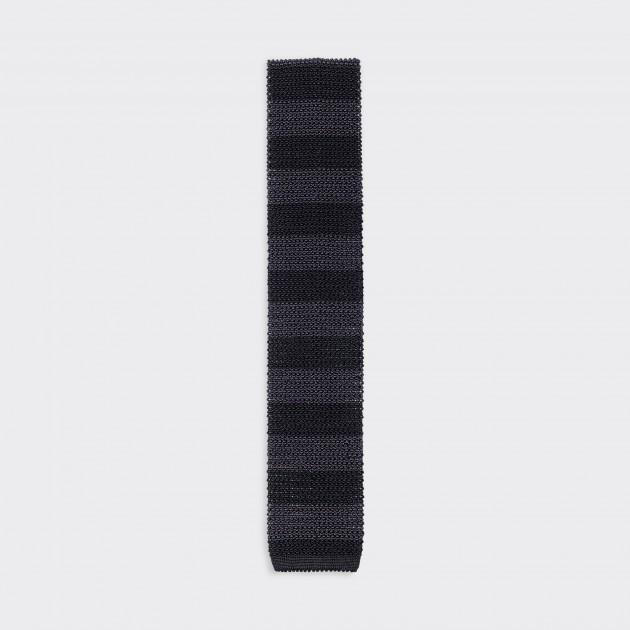 Cravate Tricotée à Rayures : Noir/Gris