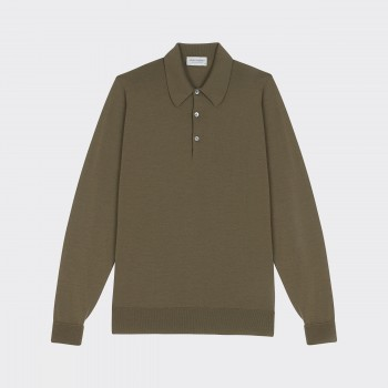 Polo Manches Longues Coton : Olive