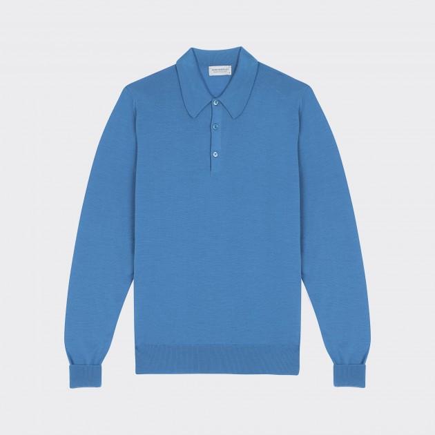 Polo Manches Longues Coton : Bleu Clair