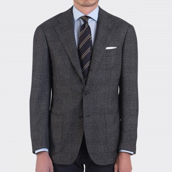 Wool & Cashmere Prince of Wales Jacket : Charcoal
