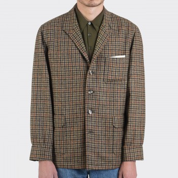 Teba Jacket Carreaux Pied-de-Poule : Marron/Olive