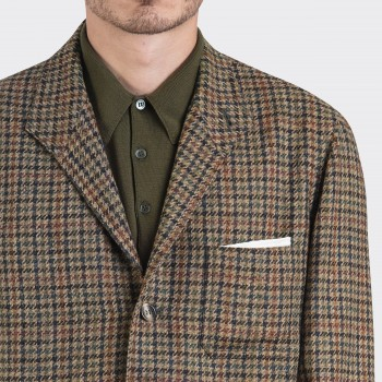 Teba Jacket Carreaux Pied-de-Poule : Marron/Olive