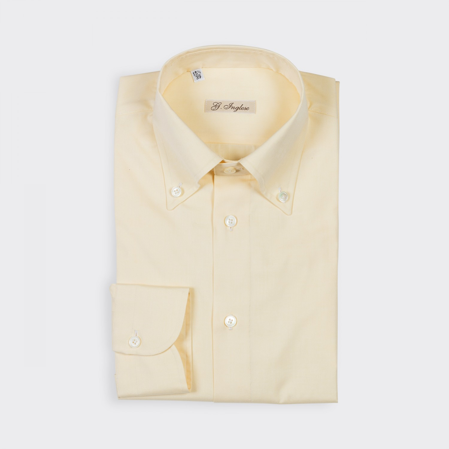 G inglese oxford button down collar shirt light yellow for White button down collar oxford shirt