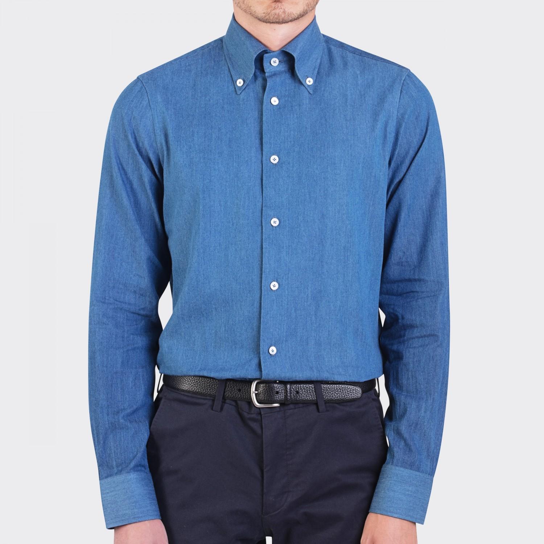 G inglese denim button down collar shirt blue for Denim button down shirts