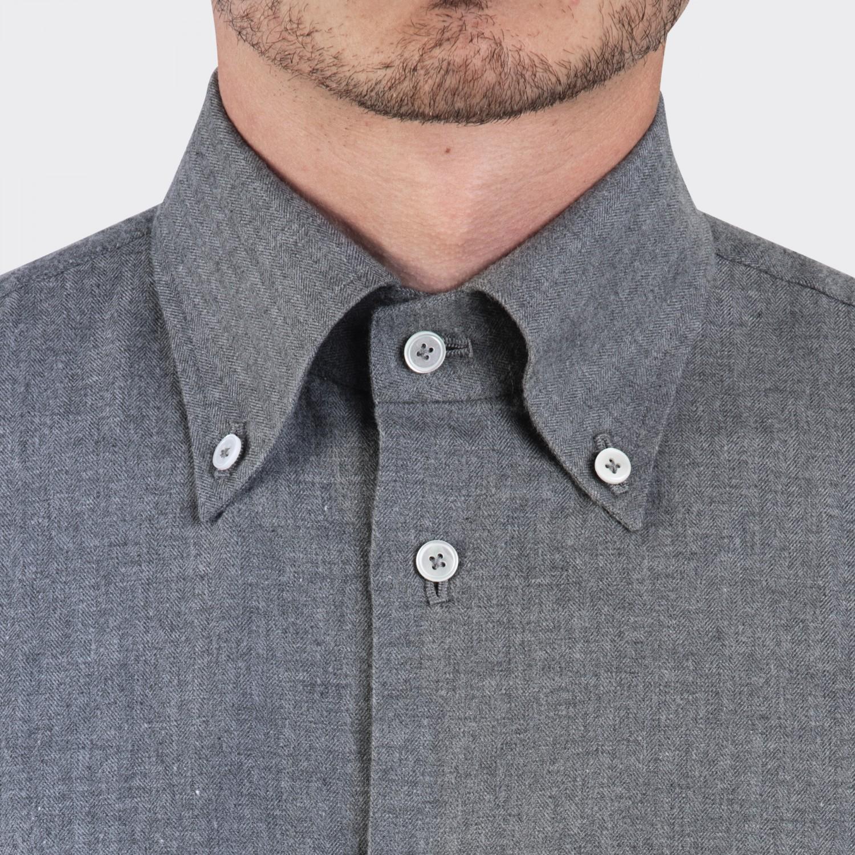 G Inglese Flannel Button Down Collar Shirt Grey