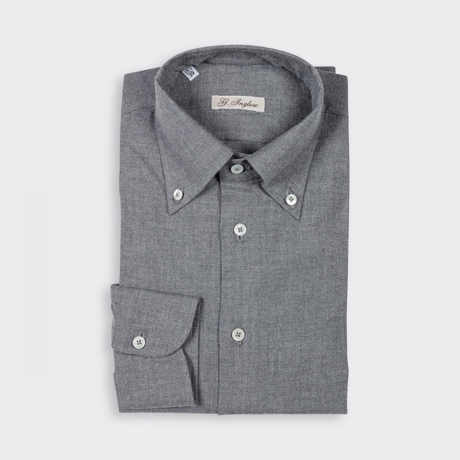 G inglese flannel button down collar shirt grey for Grey button down shirt