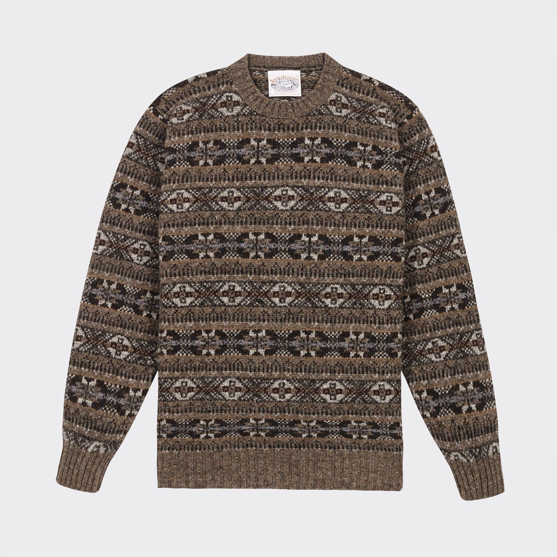 Jamieson's : Fair Isle Crewneck Knit : Brown
