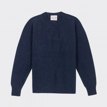Brushed Wool Crewneck Knit : Midnight Blue