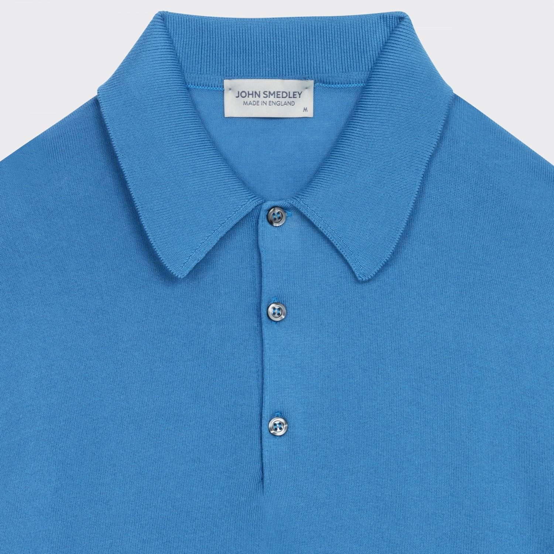 5b220ac70933 John Smedley : Short Sleeves Cotton Polo Shirt: Light Blue