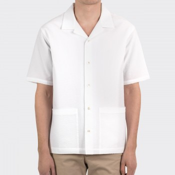 Chemise Col Ouvert Seersucker : Blanc