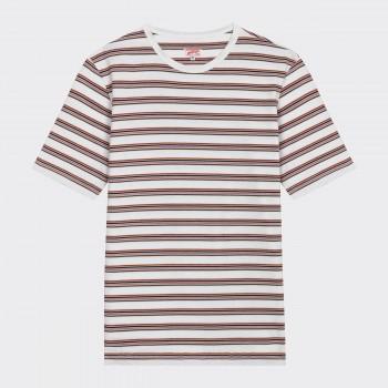 T-Shirt Coton Rayures : Bleu/Orange/Blanc