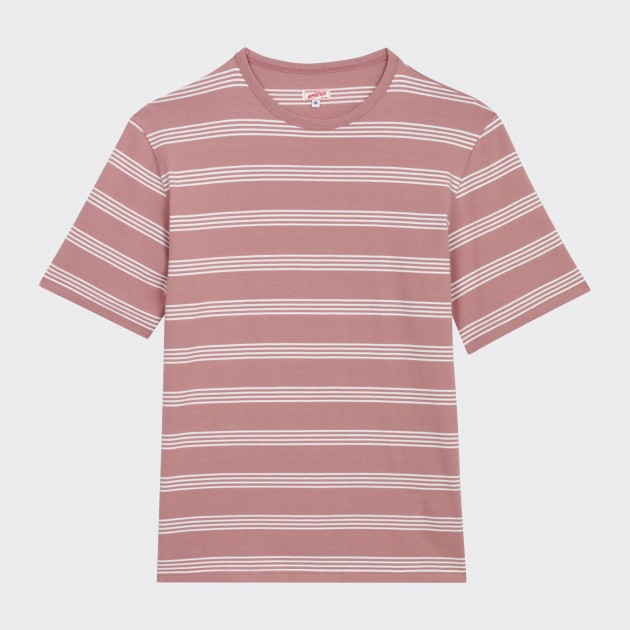 T-Shirt Coton Rayures : Rose/Blanc