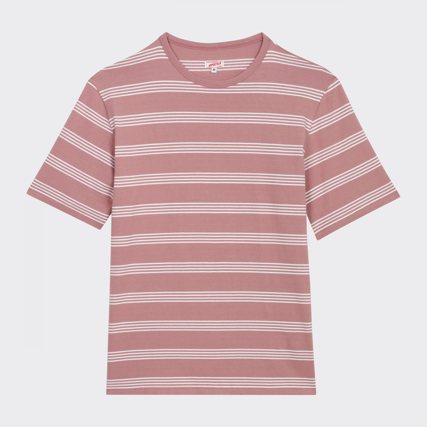 Arpenteur striped cotton t shirt pink white for Thick white cotton t shirt