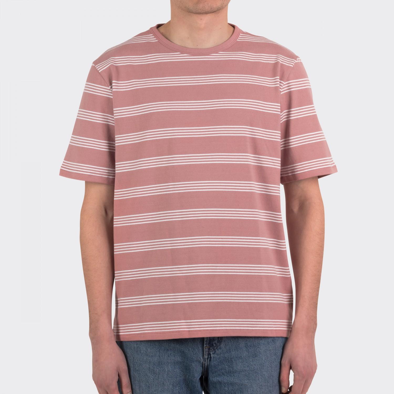 Arpenteur striped cotton t shirt pink white for Pink white striped shirt