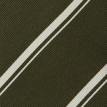 Cravate Club Soie : Olive/Blanc