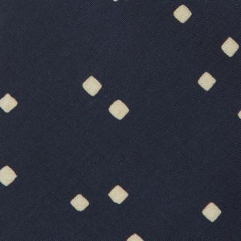 Cravate Petit Carré Soie : Marine/Écru