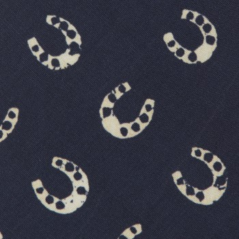 Cravate Fer À Cheval Soie : Marine/Écru