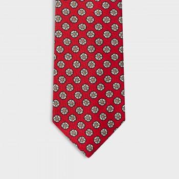 Cravate Motif Floral Soie : Rouge/Beige