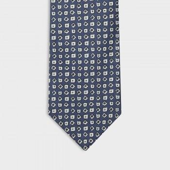 Cravate Carré & Losange Soie : Bleu/Blanc