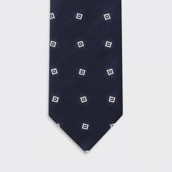 Cravate Carré Art Deco Soie : Marine/Blanc