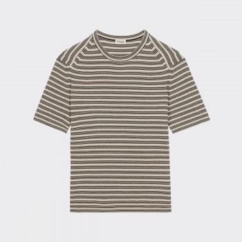 Sweatshirt Manches Courtes Coton : Beige/Noir