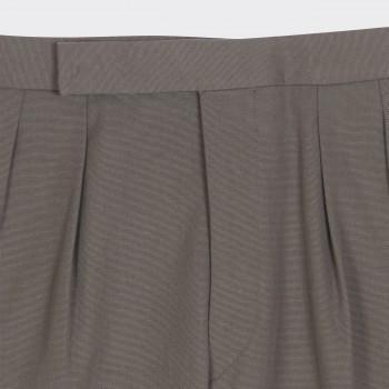 Pantalon Gabardine Coton & lin à Double Pinces : Taupe