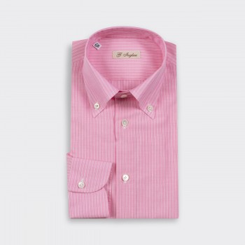 Chemise Col Boutonné Doubles  Rayures : Rose/Blanc