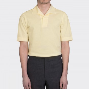 Polo  Col Requin Jersey de Cotton  : Jaune Clair