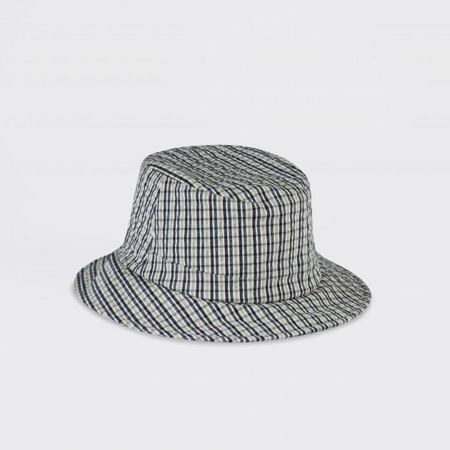 2c18ce9710f Lock   Co   Checked Seersucker Bucket Hat   White Grey Navy