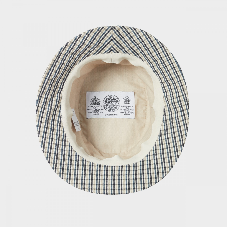 7acf3e109 Lock & Co : Checked Seersucker Bucket Hat : White/Grey/Navy