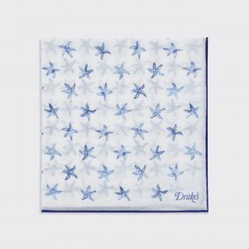 Pochette Imprimée Carré Soie et Coton : Blanc/Marine