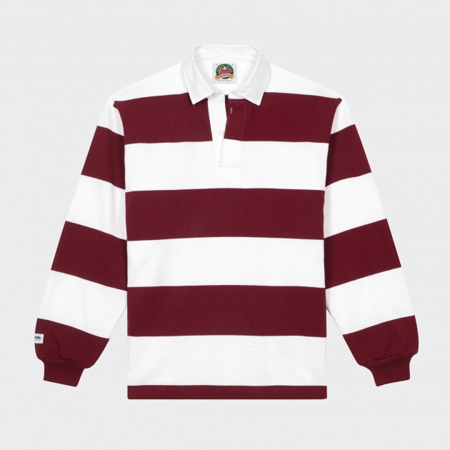 Striped Rugby Shirt White Crimson Red