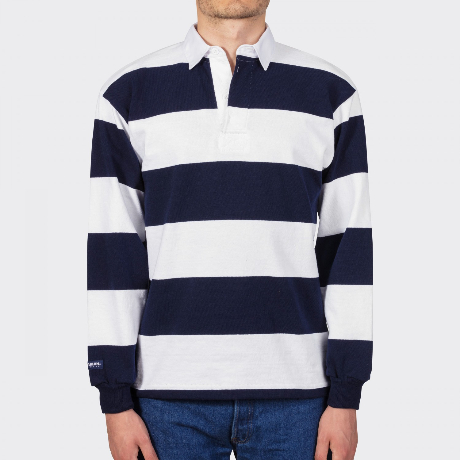 Striped Rugby Shirt White Navy