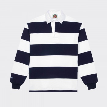 Striped Rugby Shirt : White/Navy