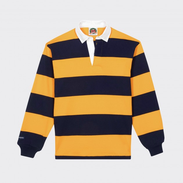 24c6702682eda Barbarian   Striped Rugby Shirt   Navy Yellow