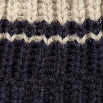 Bonnet Laine Double Rayures : Marine/Blanc