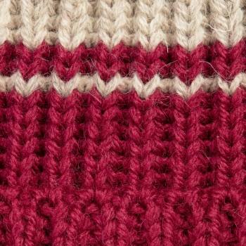 Bonnet Laine Double Rayures : Rouge Harvard/Blanc