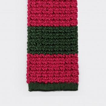 Cravate Soie Tricotée : Vert/Rose