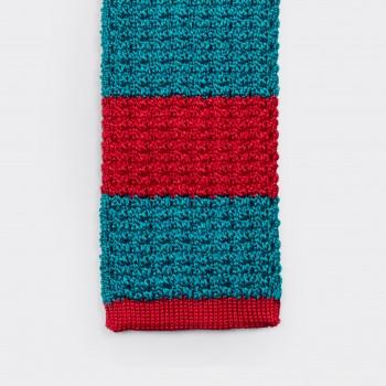 Cravate Soie Tricotée : Rouge/Bleu